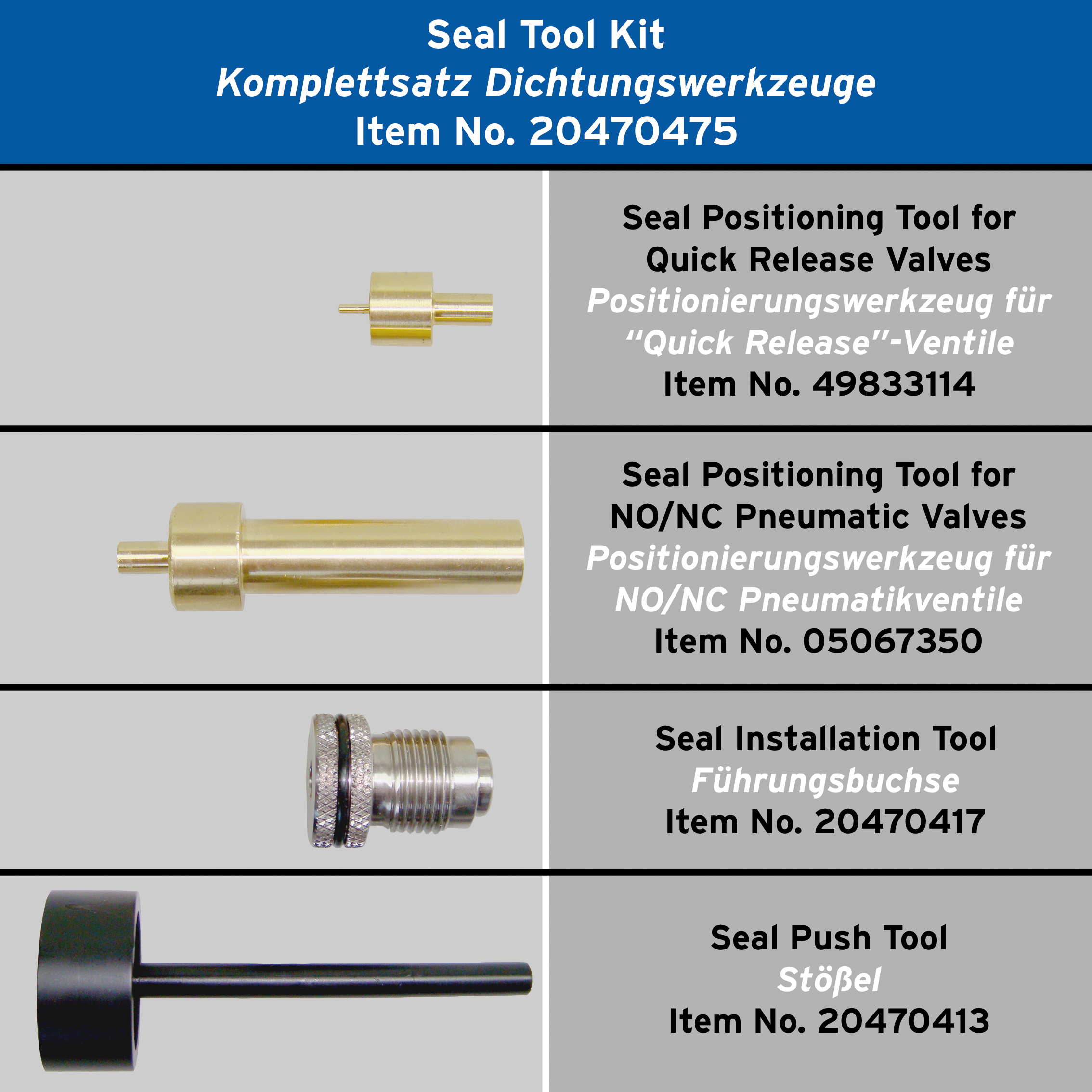 Components of the seal tool kit for pneumatic valves